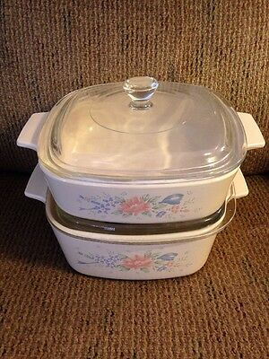 Two (2) Corning Ware Corelle Symphony CASSEROLE DISHES with Lids