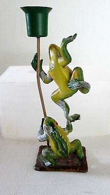 VINTAGE HEAVY METAL CLIMBING FROGS CANDLE HOLDER HAND PAINTED BY PETITE CHOSES