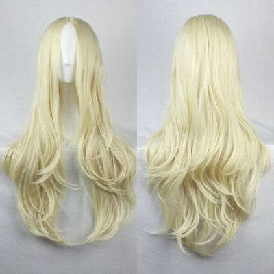 Fashion Women's Light Blonde Long Wavy Anime Cosplay Party Wig 75cm/30inch