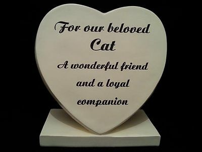 Beloved Cat Memorial Heart Shaped Plaque Heart Grave Ornament Sadly Missed