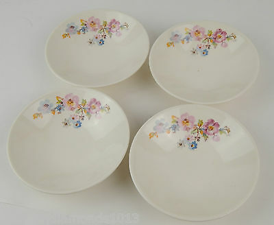 """Vintage Set 4 Knowles Cream China Colorful Flowers 5-1/2"""" Bowls Shallow"""