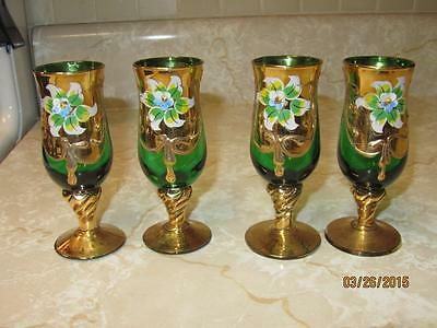 Vintage - Czech Bohemian Hand painted Emerald Green Cordial Glasses Set of 4!