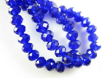 100Pcs Royal Blue Crystal Glass Faceted Rondelle Beads 3mm Spacer Finding Charms