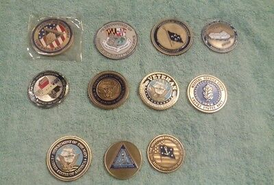 Lot of 11 Assorted Military Challenge Coins