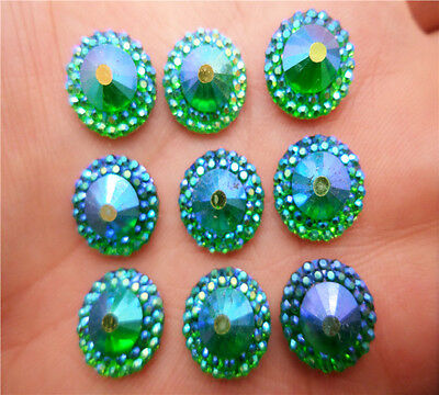 NEW DIY 40PCS 12MM AB Resin domed flatback Scrapbooking for phone / wedding KY7