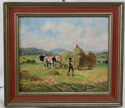 Oil on board painting of farm with figures Signed lower right A. Gregon (7224)