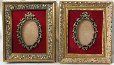 FRENCH Two wooden picture frame with bronze interior for KPM or Photo