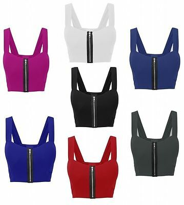 New Womens Front Zip Padded Strap Stretch Boob Tube Bralet Crop Bra Ladies Vest
