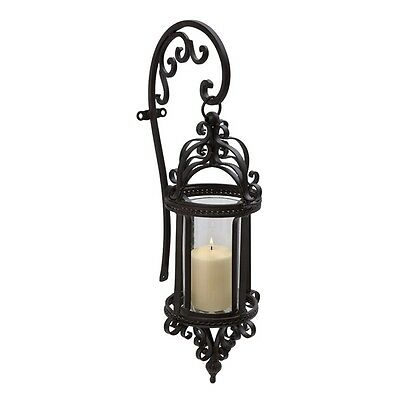 Traditional Iron and Glass Hanging Wall Lantern Scroll Design