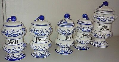 VINTAGE BLUE ONION~ARNART CREATION~CONDIMENT CANISTERS LOT OF 5 PC SET