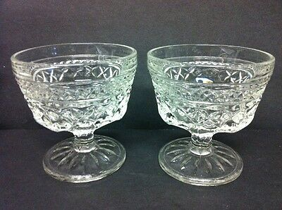 Lot Of 2 Anchor Hocking Wexford Glass Goblets Short 6 Oz
