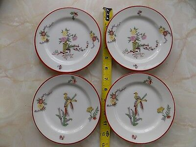 """4 Jean Pouyat Limoges 6 3/8"""" Bread & Butter Plates Japanese Theme Red Edge"""