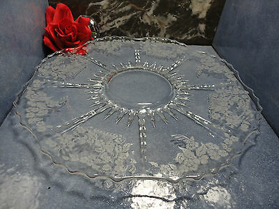 """Meadow Wreath Elegant Glass Era Etched Radiance large plate or platter 11"""""""