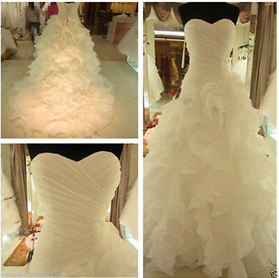2015 New White/Ivory Wedding Dress Bridal Gown Ball Size 6 8 10 12 14 16 Custom