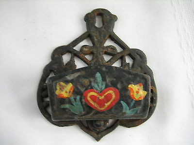 Vintage Cast Iron Wall Mount Match Stick Holder Hand Painted Flowers