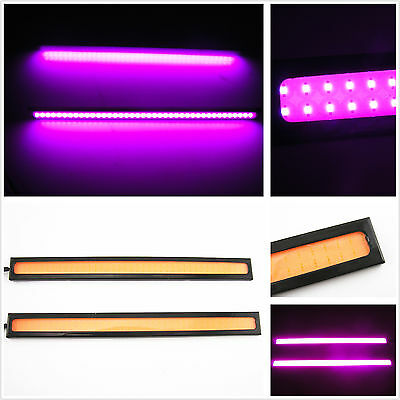 2 x 17cm Purple Pink 12V COB LED Waterproof Auto Driving Fog Light DRL Lamp Bar