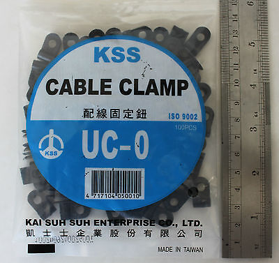 100 P Clips 3.1mm Cable Clamps Black Nylon holds up wire conduit split loom KSS