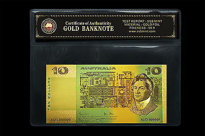 Coloured Australian Paper $10.00 24Kt Gold Foil 999.9 Gold Bank Note Coa Pack