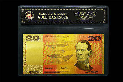 Coloured Australian Paper $20.00 24Kt Gold Foil 999.9 Gold Bank Note Coa Pack