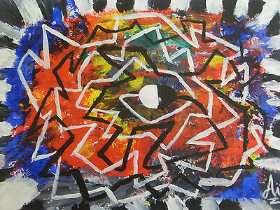 Art original painting abstract black white red colorful direct from artist  COA