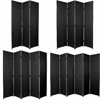 ENTWINE Black Hand Made Woven Room Dividers Square Top 3, 4, 5, 6 Panel