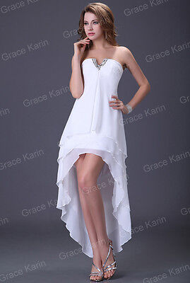 CLEARANCE~Bridesmaid Long Prom Birthday Ball Gown Formal Evening Dress White 14
