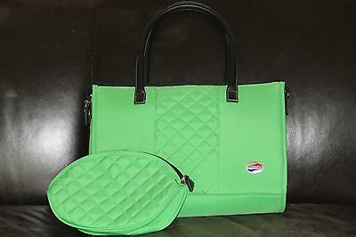 NEW green American Tourister carry on bag with cosmetic pouch