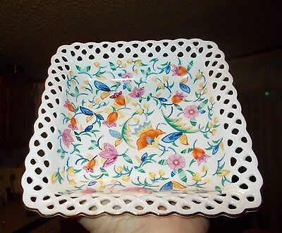 Vintage Germany Snack / Candy Dish. Flower pattern, Lace-like border w/Gold edge