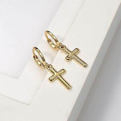 18k Yellow Gold Filled Smooth Cross style Earrings Women Dangle Hoop GF Jewelry