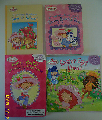 Lot of 4 Strawberry Books Spanish Words Easter Egg Hunt School & Berry Pets