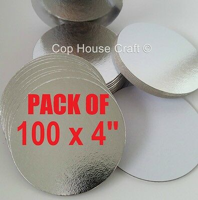 "100 x 4"" ROUND THIN CUT EDGE SILVER BOARDS cake cupcake cards sugarcraft culpitt"
