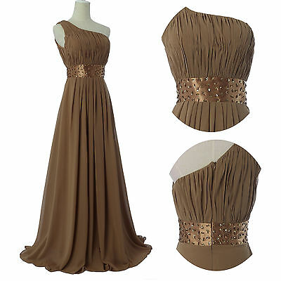 COFFEE 8 Sexy Long Bridesmaid Cocktail Prom Party Ball Gown Formal Evening Dress