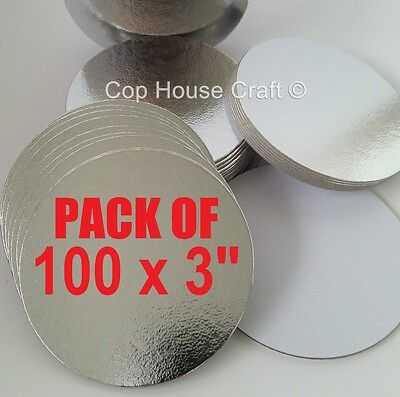 "100 x 3"" ROUND THIN CUT EDGE SILVER BOARDS cake cupcake cards sugarcraft culpitt"