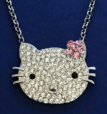 Hello Kitty Silvetone Face with Pink Flower Necklace Crystal Rhinestones 26""