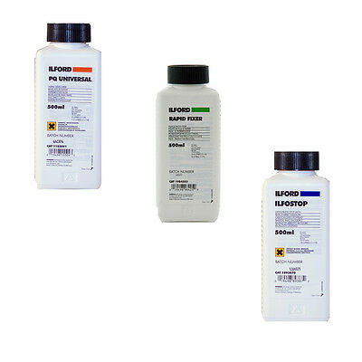Ilford B&W Paper Chemical Kit - PQ Universal, Rapid Fix, Ilfostop (500ml)