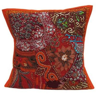 """16"""" INDIAN ORANGE TOSS PILLOW CUSHION COVER THROW Ethnic Vintage Patchwrok Arsdf"""