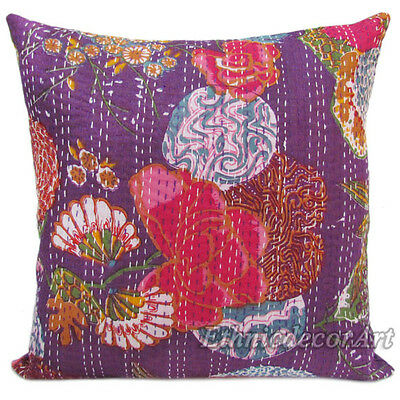"""2 16"""" INDIAN PILLOW CUSHION COVER THROW FLORAL Vintage Ethnic 100% Cotton Indas"""