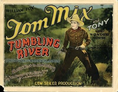 TUMBLING RIVER (1927) Title lobby card Tom Mix lost film, very saturated color