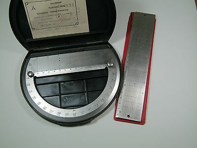 SOVIET NAVY PROTRACTOR NAVY RULE DRAFTING TOOLS DRAWING INSTRUMENTS USSR RUSSIAN