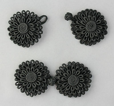 2 Pairs Frog Fasteners Button Knots Colour: Black  # S23