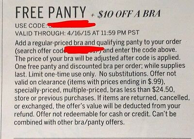 Panty + $10 Off Bra Victorias Secret Coupon