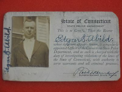 vintage 1920's Connecticut State Police ID card