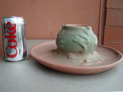 """Rookwood Production Pink 4"""" by 11"""" Oak Leaf Inkwell 1907"""