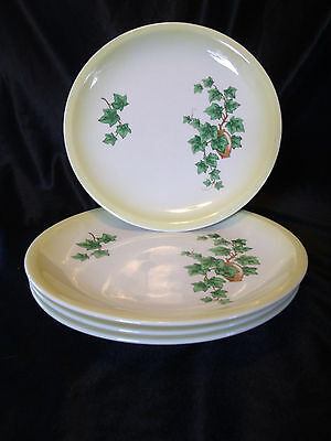 LOT of 4 - PADEN CITY POTTERY IVY SALAD PLATES  – YELLOW TRIM - 7 1/2""