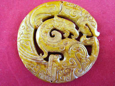 0205 chinese carving topaz jade double-faced dragon phenix round pendent 60g
