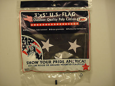 LOT of  5 3' x 5' U.S. FLAG POLY COTTON W/BRASS GROMMETS,FADE RESIST MADE IN USA