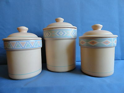 SO. WESTERN AZTEC 3PC.CERAMIC CANISTER SET MADE IN THE USA by TREASURE CRAFTS
