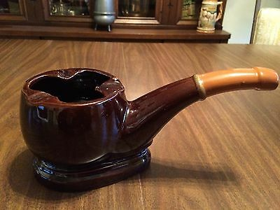 Vtg Large Pipe Shaped Ashtray  Ceramic Glazed Brown Mid Century Antique Pipes
