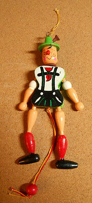 Vintage Pull String Wood Jointed Pinocchio Jumping Jack Christmas Ornament