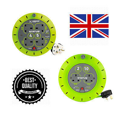 Heavy Duty Extension Reels Electrical Power Lead Cable Mains Plug Sockets 240v